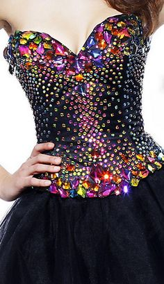 Multi colored crystals on black bustier...Gorgeous