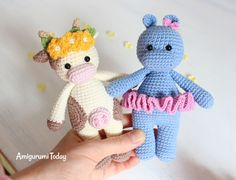 Amigurumi Cuddle Me Hippo and Cow - Free crochet patterns