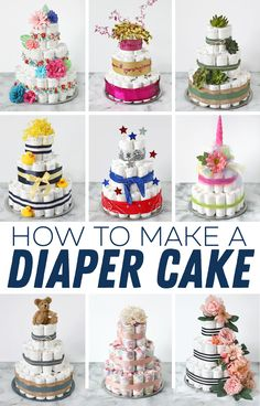 Darling ideas for decorating a diaper cake, plus the best instructions for making a diaper cake the easy way. There are cute ideas for baby boy diaper cakes and baby girl diaper cakes. Diaper Cakes Tutorial, Diaper Cake Instructions, Diy Diaper Cake, Nappy Cakes, Cake Tutorial, Unique Diaper Cakes, Mini Diaper Cakes, Mini Cakes, Idee Baby Shower