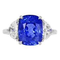 6.15 Carat Sapphire Diamond Ring | From a unique collection of vintage three-stone rings at http://www.1stdibs.com/jewelry/rings/three-stone-rings/