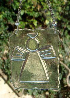 Fused glass Guardian angel suncatcher hanging by GeckoGlassDesign, $39.00