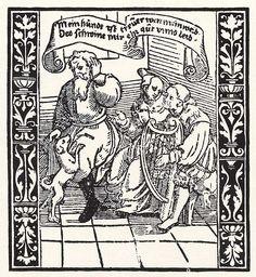 Title: Das untreue Weib              Tags: Landsknecht, Trossfrau, Dog              Date: ca. 1535                        Artist: Erhard Schoen              Provenance: Germany              Collection: Staatliche Grafische Sammlung