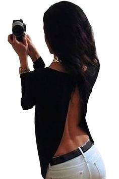 Black Open Back Hollow Side Slit Long Sleeve Casual Shirt Top