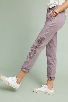 Relaxed Embroidered Chino Pants