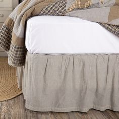 Adorn your bed with a classic farmhouse, vintage look vintage colored ticking stripes, adding a country, rustic look to the quality, pure cotton material. Coordinates well with the Dakota Star Farmhouse Blue Quilt. Striped Bedding, Ruffle Bedding, Ticking Stripe, Blue Bedding, Linen Bedding, King Beds, Queen Beds, Dust Ruffle, Ruffles