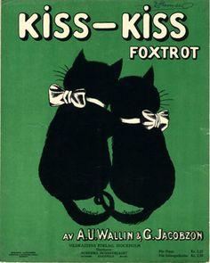 "Vintage sheet music: ""Kiss-Kiss (Foxtrot)"" by A.U. Wallin G. Jacobzon (1922) - Cover illustration by G. Jacobzon"