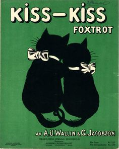 "Vintage sheet music: ""Kiss-Kiss (Foxtrot)"" by A.U. Wallin & G. Jacobzon (1922) - Cover illustration by G. Jacobzon"