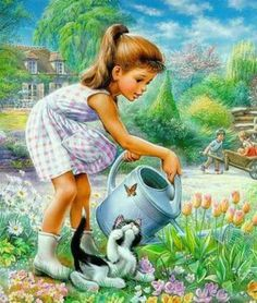 Illustration by Marcel Marlier Marcel, Illustration Photo, Art Mignon, Beautiful Paintings, Vintage Children, Cat Art, Cute Drawings, Painting & Drawing, Vintage Art