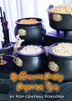 Halloween Popcorn Bar. Perfect way to get your party guests to mix and mingle. Everything you need sold in 1 package. Click to buy.