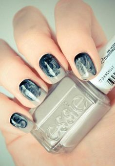 A totally cool and new take on #marblenails :)