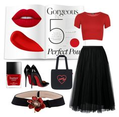 """""""red lips"""" by didayy ❤ liked on Polyvore featuring beauty, WearAll, Valentino, Christian Louboutin, Lime Crime, Lipstick Queen and Carrera y Carrera"""