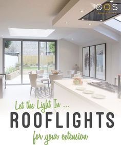 Roof Lights also known as Flat Roof Windows are an opening that is created in the structure of a flat roof. This is to allow light to come into an interior space below. They come in a variety of styles such as; dome, curved glass, flat glass, fixed and opening. #rooflights #flatrooflights #kitchen #eosrooflights