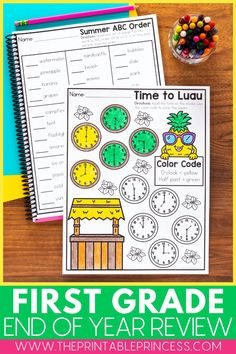 Make reviewing important first grade skills fun with this comprehensive end-of-year math and literacy review. This resource is filled with well over 100 pages of print and go activities that can be used in the classroom as an end-of-the-year review or turned into a booklet to send home as a summer review packet to help prevent summer slide. Subtraction Activities, Kindergarten Math Activities, Counting Activities, Kindergarten Classroom, Summer Activities, Classroom Ideas, Literacy, Place Value Activities, Word Family Activities