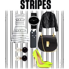 Black and white Stripes, Black And White, Shoe Bag, Polyvore, Stuff To Buy, Accessories, Collection, Design, Women