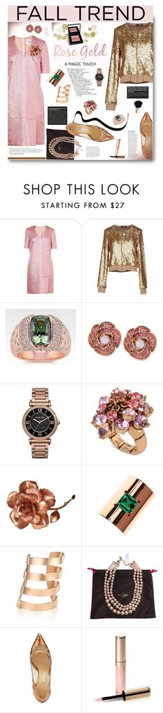"""Fall Jewelry Trend: Rose Gold"" by hamaly ❤ liked on Polyvore featuring LIU•JO, Betsey Johnson, Michael Kors, Augustine Jewels, IaM by Ileana Makri, Kate Spade, Bionda Castana, Bobbi Brown Cosmetics, Anja and Prada"