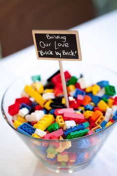Bowl of lego bricks as wedding table centrepiece.