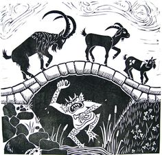 Three Billy Goats Gruff block print by NydamPrints on Etsy, $45.00