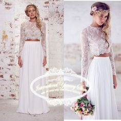 Vestido de Noiva 2015 Two Piece Boho Beach Wedding Dresses Wedding Gowns with Lace Appliques Long Sleeve