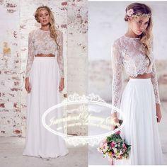 Vestido de Noiva 2015 Two Piece Boho Beach Wedding Dresses Wedding Gowns with Lace Appliques Long Sleeve