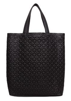 COMME DES GARCONS, CLOVER TOTE: black-on-black pattern.