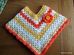 Girls / Toddler Crochet Shell Poncho  Hat Set Pattern