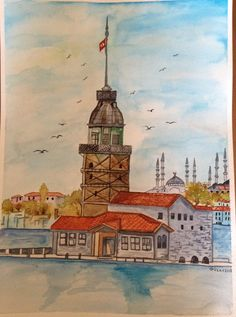 İstanbul kız kulesi. (Suluboya çalışmam) ❤️❤️#watercolor #suluboya #resim #sanat #watercolorpainting