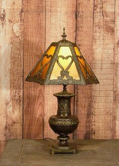 Huge Vintage Charles Parker Co Slag Glass Table Lamp