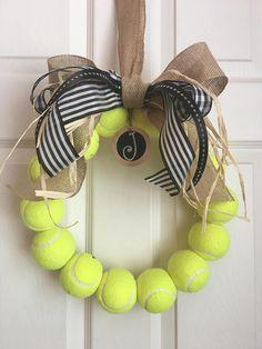 Burlap tennis wreath with tag