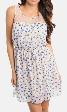 """Taupe & Blue Pleated Sleeveless Dress  ❁❁❁Thanks, Pinterest Pinners, for stopping by, viewing, re-pinning, & following my boards.  Have a beautiful day! ❁❁❁ **<>**✮✮""""Feel free to share on Pinterest""""✮✮""""  #nature #homes www.organicgardenandhomes.com"""