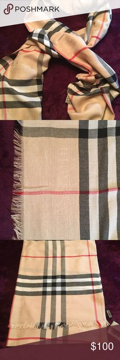 Burberry Scarf Brand new. Never worn. I received this scarf as a gift. Condition: Excellent. Lightweight. Burberry Accessories Scarves & Wraps