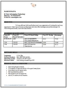 Image result for download resume format for freshers computer engineers Scribd