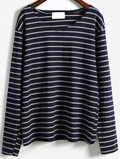 Navy Round Neck Striped Loose Casual T-Shirt