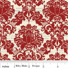 C2602 Red- Lost & Found - Damask    Riley Blake Designs Lost & Found by Jen Allyson for My Minds Eye. 100% cotton fabric by the yard, pattern