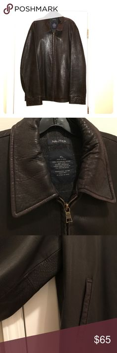 Men's Leather Jacket Nautica 100% genuine leather jacket. Size XL. Some wear to sleeve cuff but overall in very good condition. Nautica Jackets & Coats