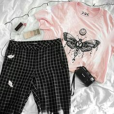 BUY THIS T-SHIRT IN SHOPSKYDANCE.EU || getting ready for Halloween 👻 what are your plans for the spooky night? featuring our moth tee in pink 🌸⠀ ⠀ #moth #tattoo #mothtattoo #halloween #gridpants #allwhite #minimal #pinterest #whitetheme #grunge #grungegirl #grungepost #grungeoutfit #outfit #ootd #fashionblogger #streetfashion #aesthetic #art #inspiration #indie #vsco #vscocam #tumblr #tumblrpost #tumblrgirl