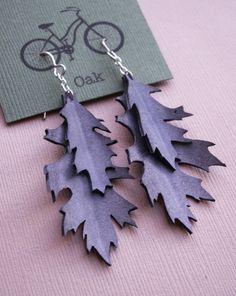 Upcycled Oak Leaf Earrings- made from bike inner tubes $20 @etsy