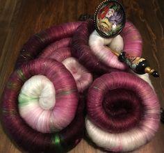 Rolags LUXURIOUS spinning fiber hand blended Merino, Rose fiber, Silk, Buttersilk, firestar & angelina 3.77ozs by Bags4Ewe on Etsy https://www.etsy.com/listing/505792156/rolags-luxurious-spinning-fiber-hand