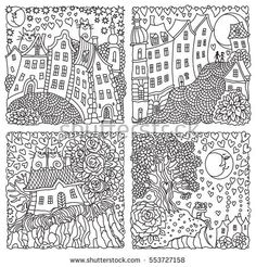 Set of 4 vector Valentine Day greeting cards. Ornate hearts silhouette.Adults and children coloring book square page. Hand drawn zen tangle contour thin line.Black and white.T-shirt print. Batik paint