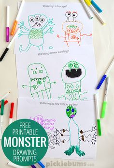 Create your own monsters with these free printable monster drawing prompts. Good for a listening activity Kids Crafts, Projects For Kids, Diy For Kids, Halloween Activities, Activities For Kids, Activity Ideas, Drawing Prompt, Drawing Tips, Drawing Art