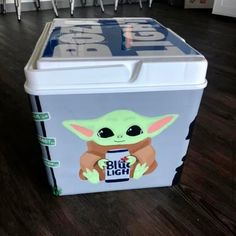 COOLERSbyU Painted Cooler Examples | Mandalorian Baby Yoda | Tags: baby yoda, mandalorian, blue, light beer, painted cooler Nola Cooler, Diy Cooler, Beer Cooler, Painted Fraternity Coolers, Frat Coolers, Painted Coolers, Formal Cooler Ideas, Online Shopping For Boys