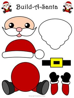 Easy to Make Santa Claus Craft with Free Templates - Simple Mom Project - - Decorate the classroom or use this free printable Santa Claus craft as a diy Christmas ornament. He is perfect for kindergartners and preschool age kids! Diy Christmas Ornaments, Simple Christmas, Holiday Crafts, Christmas Decorations, Christmas Christmas, Peacock Christmas, Christmas Nativity, Felt Ornaments, Spring Crafts