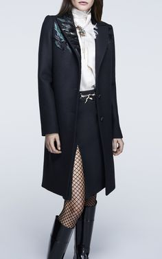 9a4bc09eb354f Wool Coat With Embroidered Feather Collar by LANVIN for Preorder on Moda  Operandi Zwykłe Stroje Biznesowe