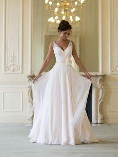 2014 Modern Fashion sexy V neck Wedding dresses Chiffon Zipper Flowers Stunning Formal Long House Wedding Party Gowns XY033286-in Wedding Dresses from Apparel & Accessories on Aliexpress.com | Alibaba Group