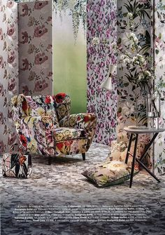 Designers Guild fabrics and wallpapers as seen in Marie Claire Maison, Italy