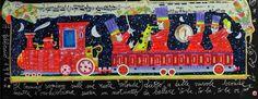 Il trenino scompare sulle sue ruote rotonde... Francesco Musante, Serigrafia polimaterica + glitter #gliartistidiGALP