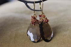 SmokeyQuartz Gemstone   Earrings, Cluster Earrings,  Fine Jewelry, briolette gemstone earrings, Garnet cluster  and Large briolette