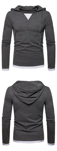 Long Sleeve Button Embellished Hooded Tee