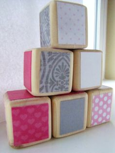 Baby Blocks Nursery & Baby Shower Decoration Pink and by MiaBooo, $20.00