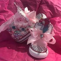Unicorn Converse w/tutu backing   Etsy Mickey Shoes, Toddler Converse, Unicorn Kids, Girls Sneakers, Ribbon Colors, Bold Colors, Tutu, Color Schemes, Special Occasion