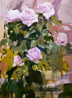 """""""Pink roses from the garden"""" by Spanish impressionist painter JOAQUIN SOROLLA (1863 –1923)"""